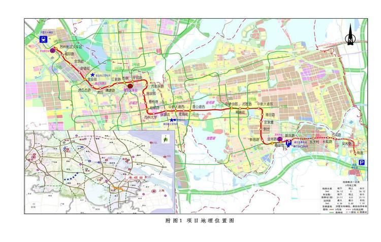 苏州市轨道交通   号线工程(苏州新区火车站-新庆路站)走向示意图图片